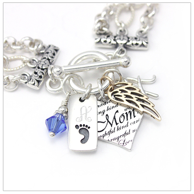 Mothers Treasure Charm Bracelet with 3 charms and 2 engraved charms