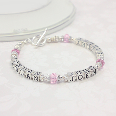 Pink and Silver Personalized Bracelets with two or three names in sterling silver and pink crystal