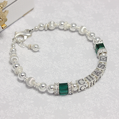 Silver Grace Personalized Bracelets with bright polished sterling and lots of cz sparkle