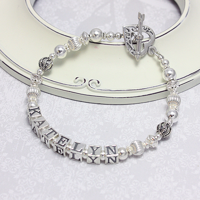 All sterling silver mothers bracelets with beautiful designer beads. Customize with our options.