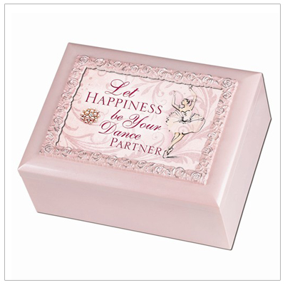 Keepsake box for girls in pink gloss finish. The music box has a hinged photo lid, lined interior, and is perfect for a little ballerina.