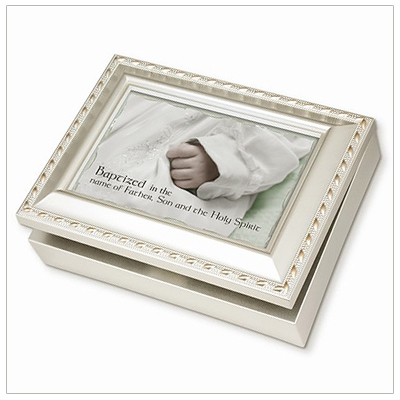 "Keepsake memory box for baby baptism with a photo lid. Musical box is fully lined inside and plays ""Jesus Loves Me""."