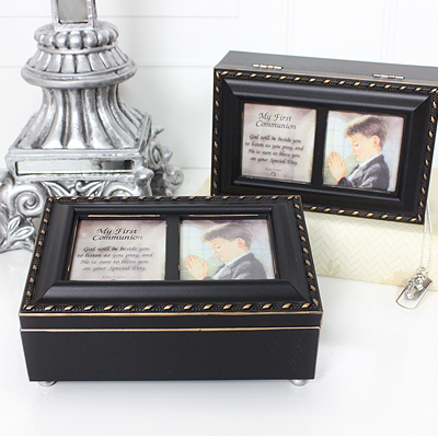 Musical keepsake box for boys First Communion or Confirmation in distressed black with gold trim. Photo lid, fully lined interior, plays Hallelujah Chorus.