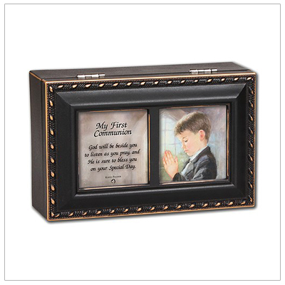 Mini keepsake memory box for boys in distressed black with gold trim. Music box has photo lid, fully lined interior, and plays 'Hallelujah Chorus'.