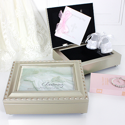"Musical keepsake box Christening gift. Champagne silver box with a photo lid plays ""Jesus Loves Me""."
