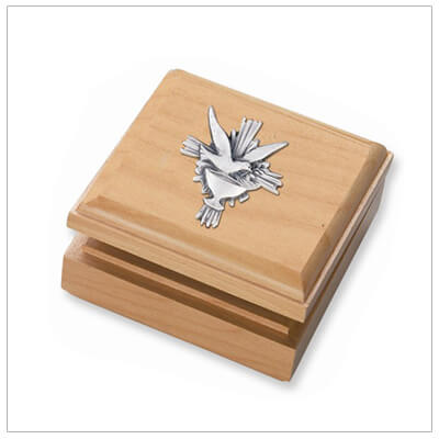Small maple keepsake box perfect for Baptism or First Communion.