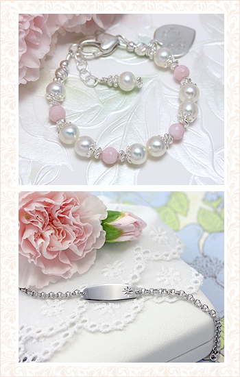 children's pearl bracelet and ID bracelet