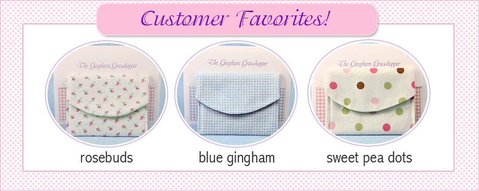 Customer's three favorite jewelry pouch designs for baby and children's jewelry.