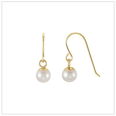 Pearl dangle earrings for kids in 14kt gold.