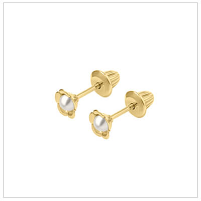 14kt flower screw back earrings with pearls for babies and children.
