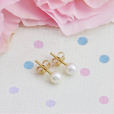 14kt Gold Pearl Earrings - 1109