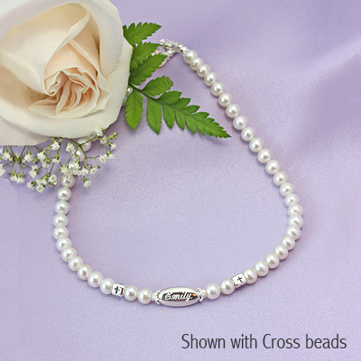 Engraved Pearl Necklace cultured pearl necklace for girls with engraved bead