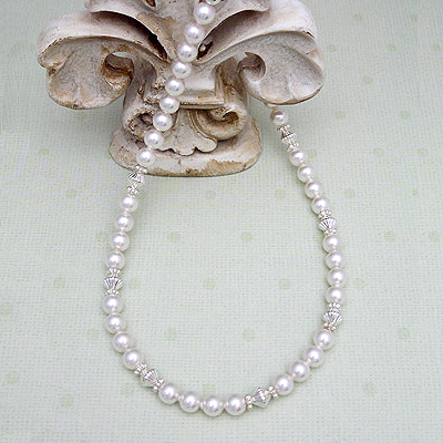 Cherish Girls Pearl Necklace with shimmering Swarovski pearls and sterling designer accents