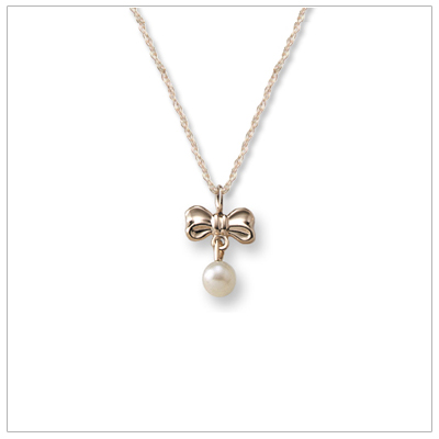 "Adorable bow necklace for children in 14kt gold with dangling cultured pearl. 15"" chain included."