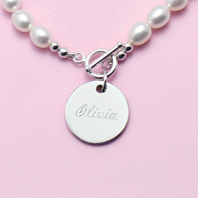 My Special Pearl Necklace cultured pearl necklace for girls with engraved disc