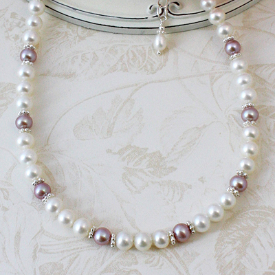 Ribbons and Lace Pearl Necklace with cultured pearls in mauve and white