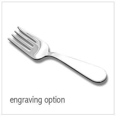 Sterling silver baby fork with custom engraving available on the handle. Fine quality American made baby gift.