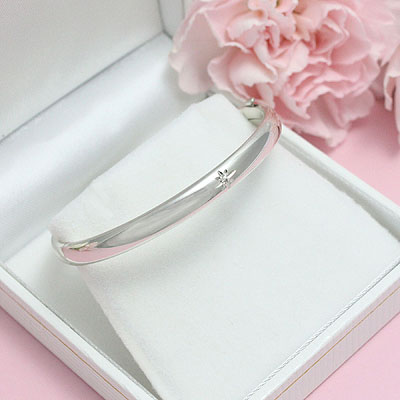 Diamond Silver Bangle Bracelet with one genuine diamond for kids