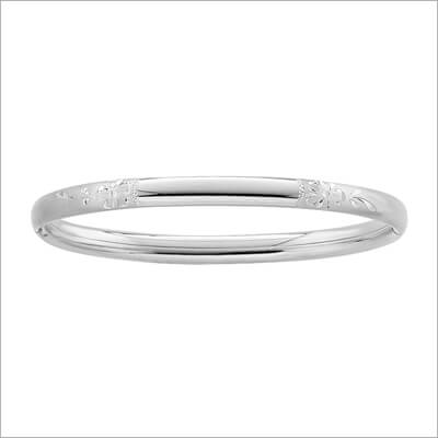 Floral Engraved Silver Bangle Bracelet 4.5 inches for baby and toddler