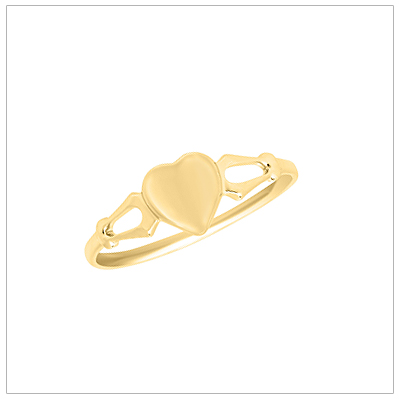 10kt yellow gold heart shaped signet ring for girls.
