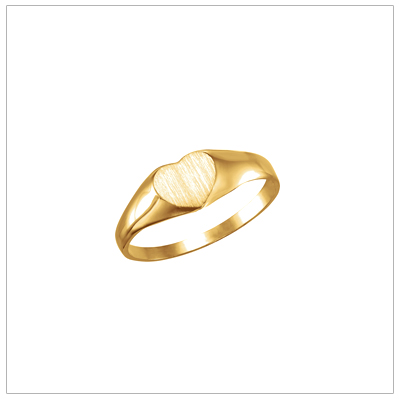 14kt gold heart shaped signet ring for children.