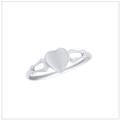 White gold signet ring for girls with heart shaped front.