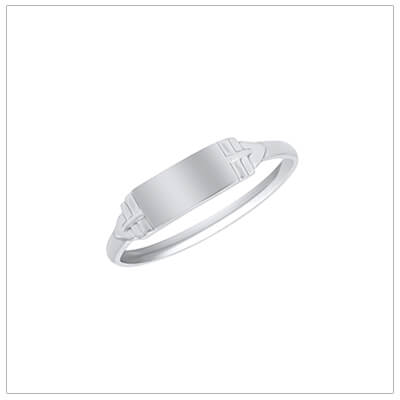 Sterling silver signet ring for boys with a rectangle shape and engraving included.