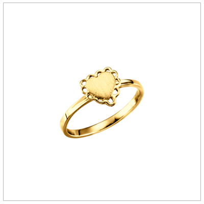 10kt gold signet ring for teens with a heart shaped front and fine looped detailing. Engraving is included on the signet ring.