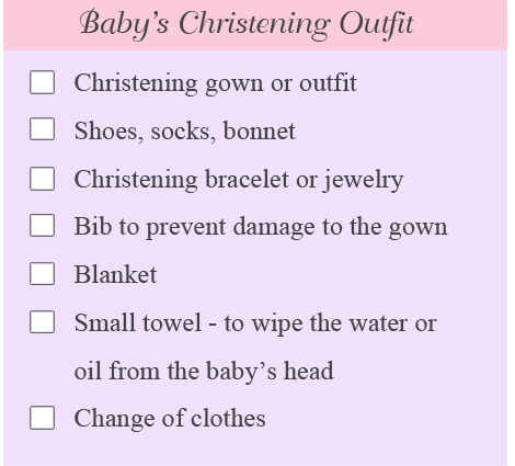christening outfit list