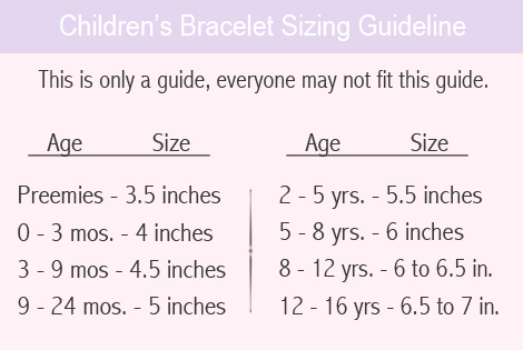 Sizing guide for baby and children's name bracelets.