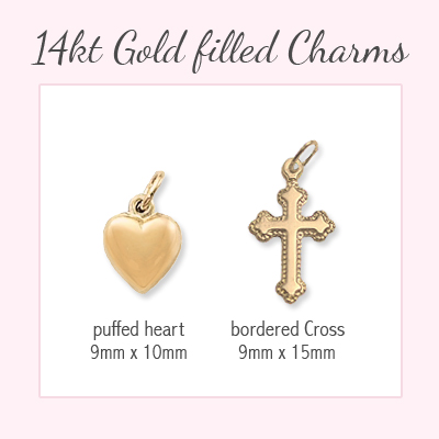 14kt gold filled charms available for baby and children's bracelets.