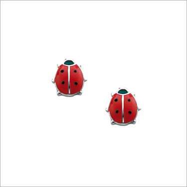 Sterling silver red ladybug earrings for babies and children. These red ladybugs are screw back earrings.