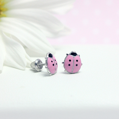 Pink ladybug earrings for babies and children in sterling silver. Our ladybug earrings have safety screw backs.