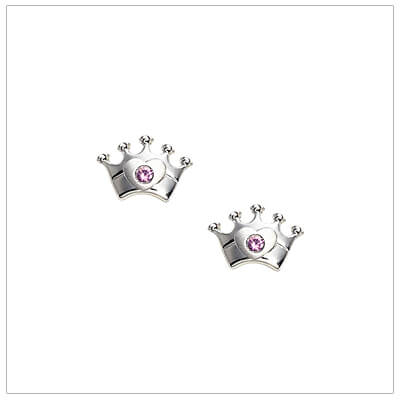 Sterling silver crown earrings for babies and children set with genuine pink sapphires; screw back earrings.