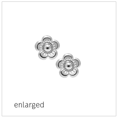 Flower earrings for babies and children in sterling silver; screw back earrings.