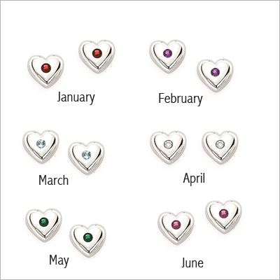 Sterling Birthstone Heart Earrings - 1416