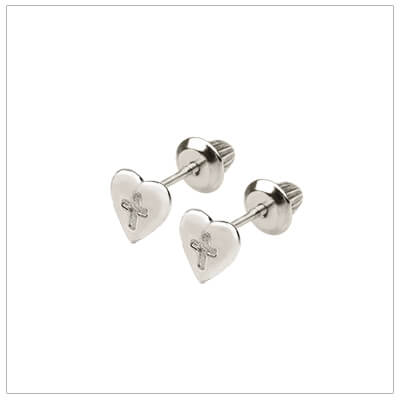 Silver heart earrings for babies and children with safety screw backs.