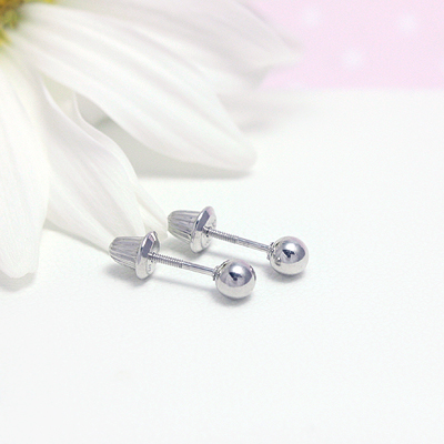 Sterling silver ball earrings with screw backs for babies and toddlers.