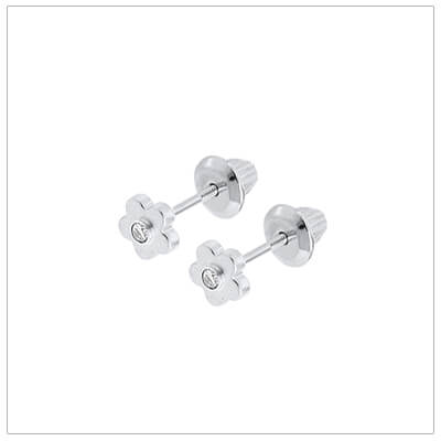 Silver flower earrings for babies and toddlers set with genuine diamonds; screw back earrings.
