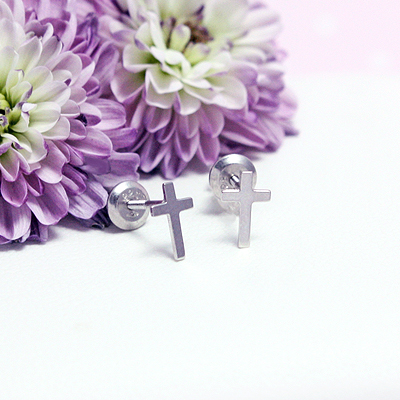 Sterling Polished Cross Earrings cross earrings, girls earrings