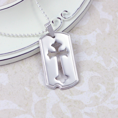 Sterling silver dog tag necklace for boys with a Cross cutout design, chain is included.