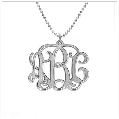 Sterling silver monogram necklace for older girls and teens.  This cut out monogram comes on a sterling chain.