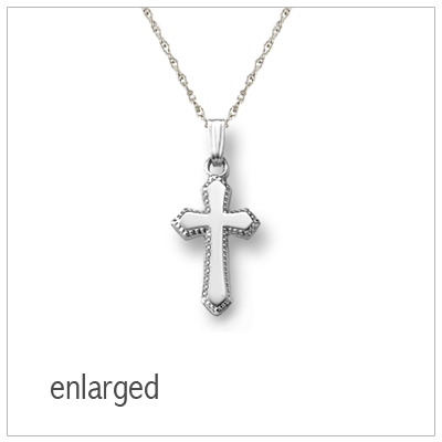 "Beaded Edge Silver Cross Necklace for children with 15"" chain included"