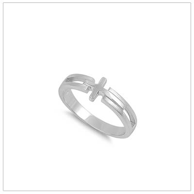 Handsome textured sideways Cross ring for boys. The boys ring is quality made in sterling silver.
