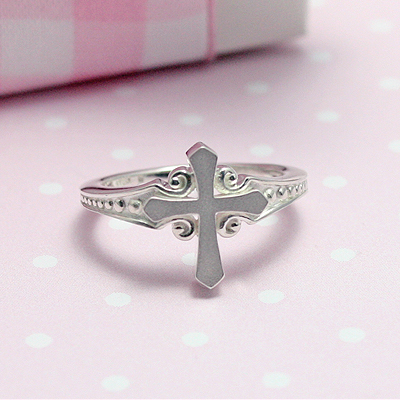 Sterling silver Cross ring with scroll design and beaded band.  4 sizes available in the Cross ring.