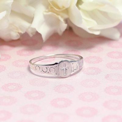 Sterling Signet Cross Ring - 1452