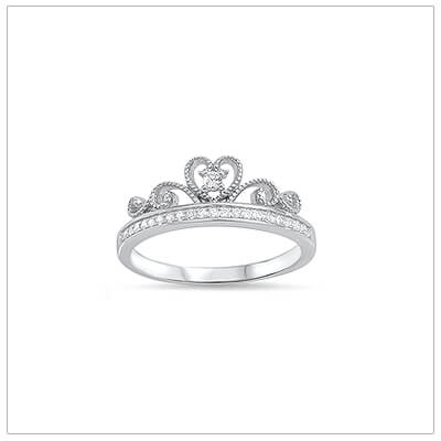Sterling silver princess ring for girls set with clear cubic zirconia. Make her feel like a princess!