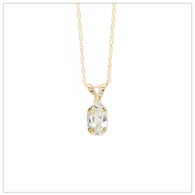 14kt gold April birthstone necklace with accent diamond; chain included.