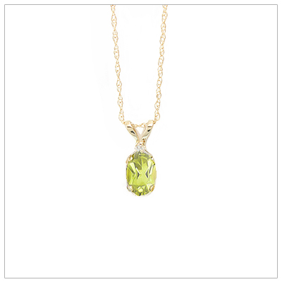 14kt gold August birthstone necklace with genuine peridot and accent diamond; chain included.