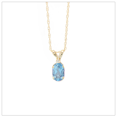 14kt gold December birthstone necklace with genuine blue topaz and accent diamond; chain included.